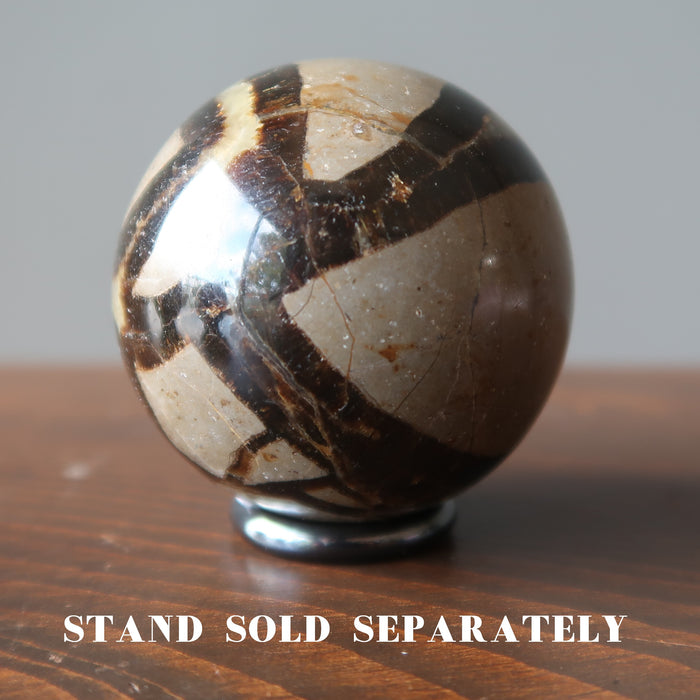 septarian stone sphere on hematine ring stand which is sold separately