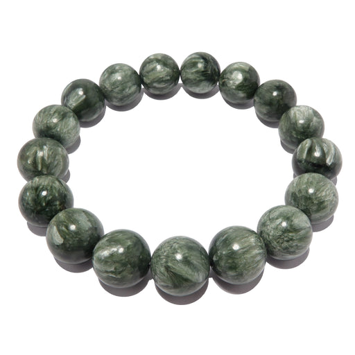 natural green seraphinite stretch bracelet beaded with genuine round polished gemstones. handmade in the satin crystals boutique.