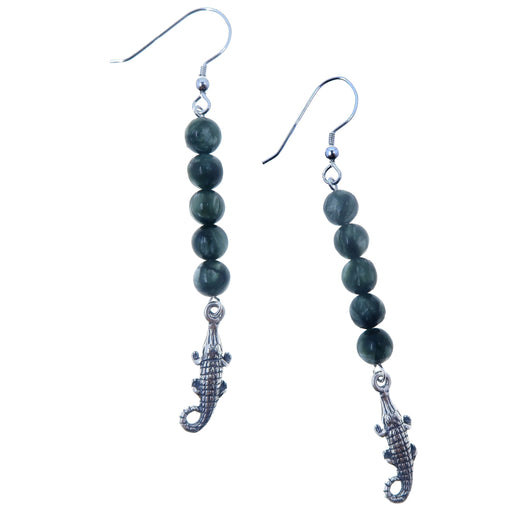 sterling silver dangle earrings with beaded green seraphinite rounds and alligator charms