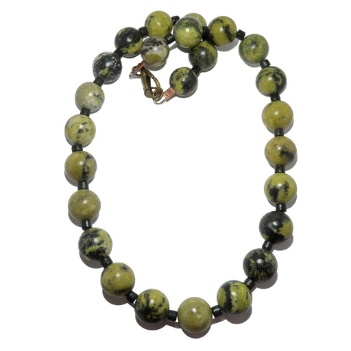 Serpentine Necklace Chunky Green Black Stone Round Beaded Statement