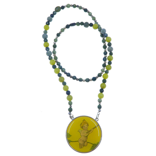 Serpentine Necklace One-of-Kind Faceted Russian Green Yellow Cupid