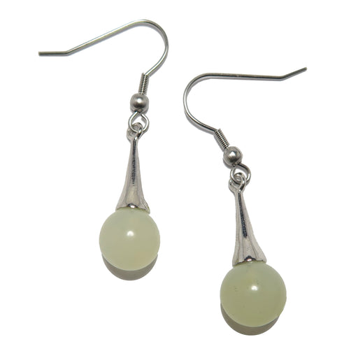 Serpentine Quartz Earrings Light Green Gemstone Silver Drop Dangle
