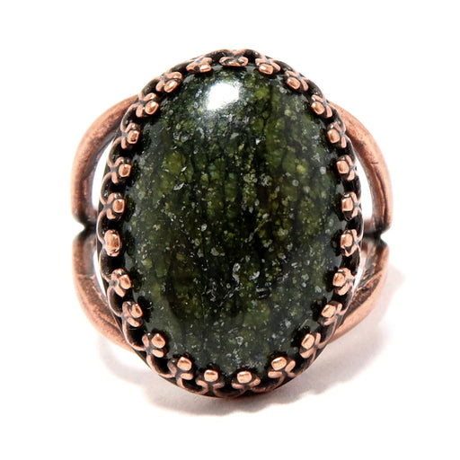 Serpentine Ring Adjustable Antiqued Copper Green Oval Gemstone