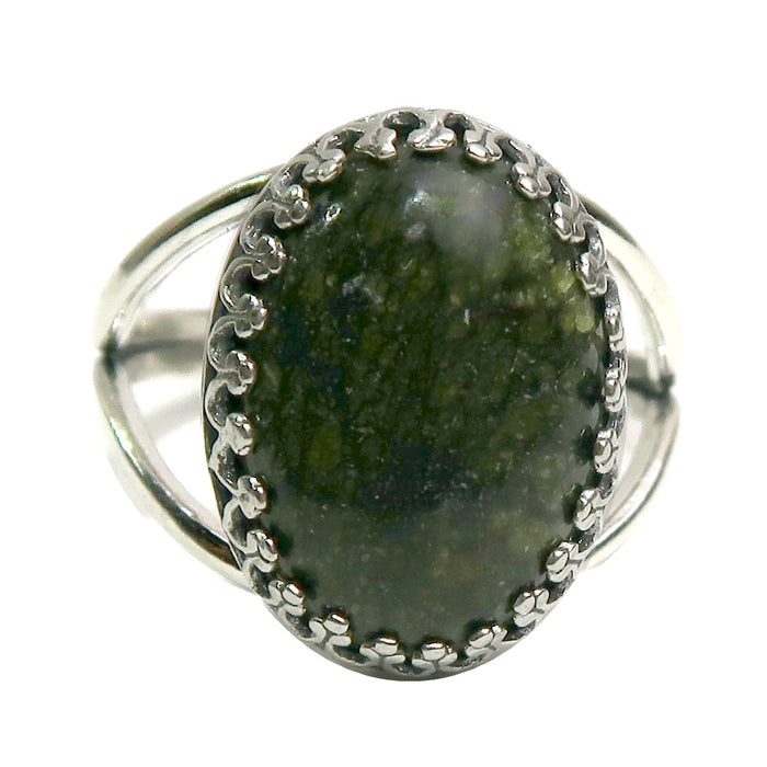 Serpentine Ring Adjustable Sterling Silver Green Oval Gemstone