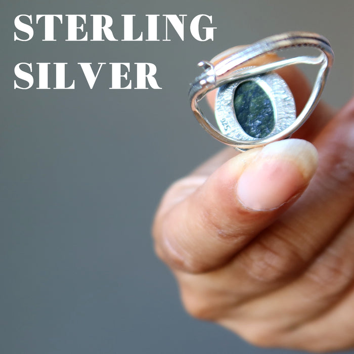 showing 925 stamp on back of russian serpentine sterling silver adjustable ring