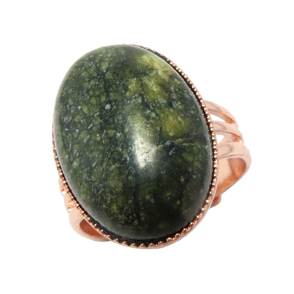 Serpentine Ring Adjustable Copper Green Russian Oval Stone