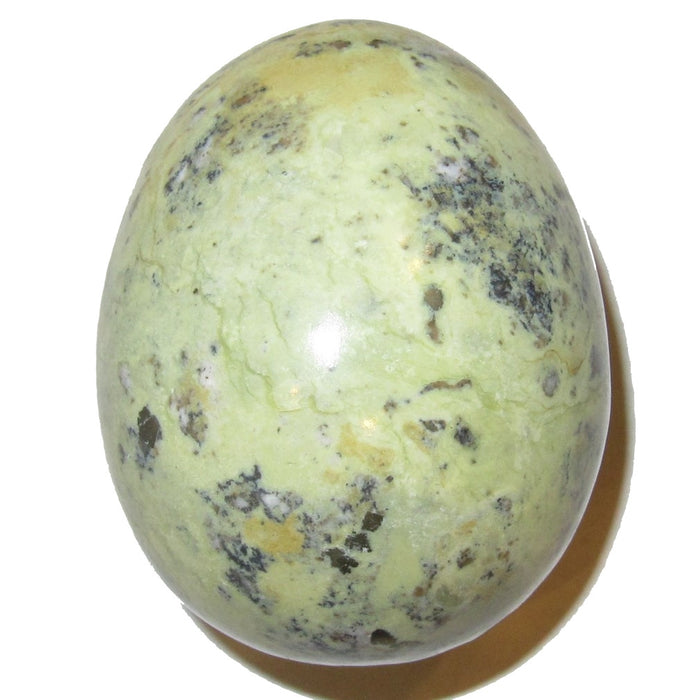 Serpentine Egg 51 Plump Spring Green Crystal Kundalini Meditation Healing Stone with Pyrite 2.5""