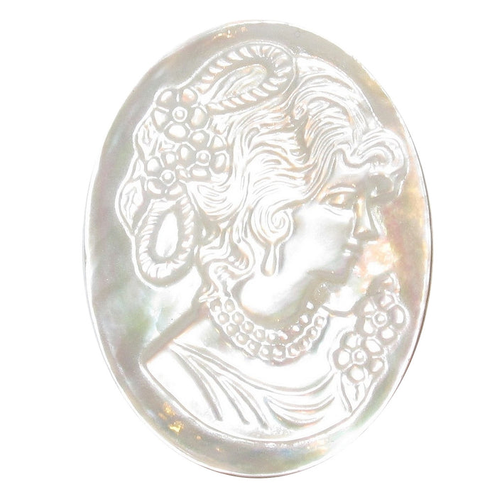 White oval cabachon cameo amulet made of Mother of Pearl. A beautiful lady faces to the side, neck up classical portrait style. The amulet has a small hole on top to string as pendant or charm.