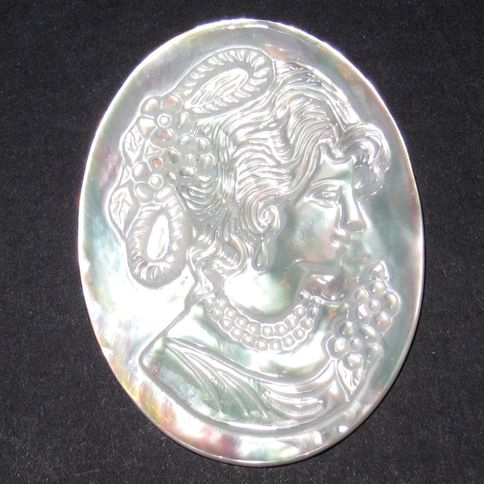 Shell Mother of Pearl Amulet Cameo Portrait Woman Goddess Cabochon