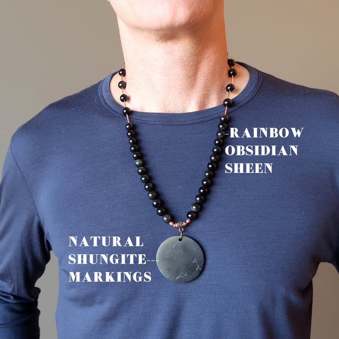 Shungite Necklace Big Black Medallion Rainbow Obsidian Beaded Stones
