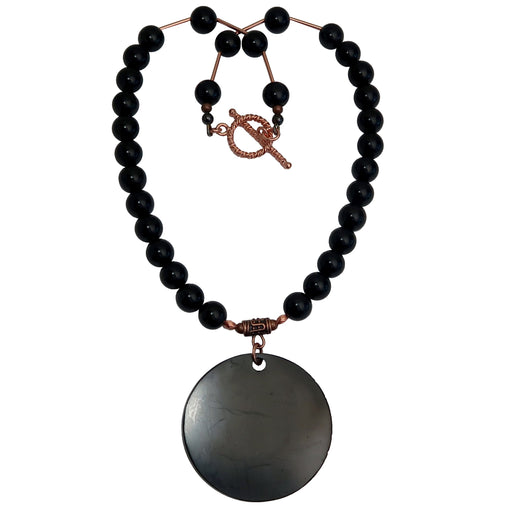 big black shungite medallion pendant on beaded rainbow obsidian and copper necklace