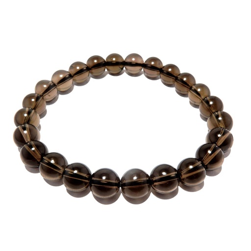 translucent dark brown smoky quartz stretch bracelet, beaded with 7mm round beads on elastic cord. handmade in usa at satin crystals boutique.