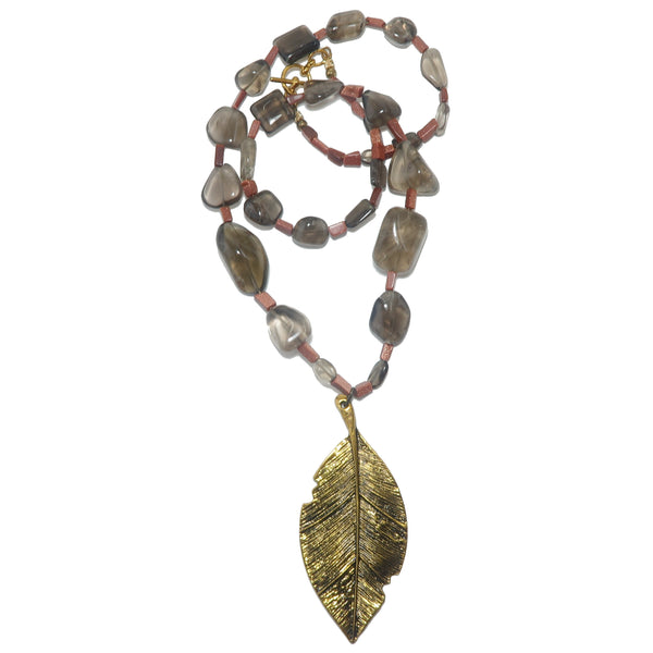 "Smoky Quartz Necklace 24"" Specialty One-of-Kind Gold Leaf Goldstone Beaded Brown Stone S01"
