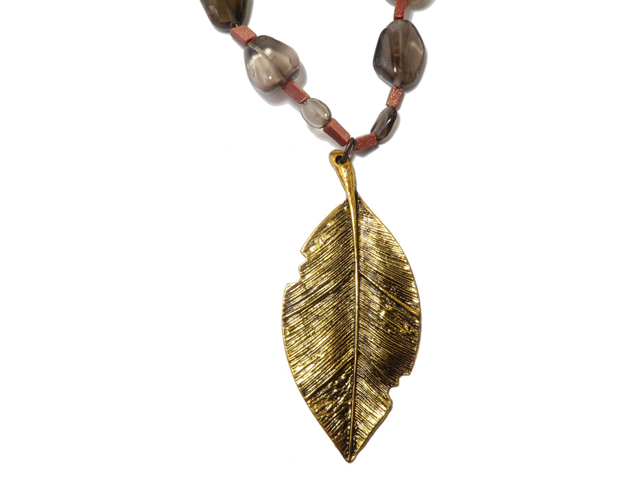 Smoky Quartz Necklace One-of-Kind Gold Leaf Goldstone Beaded Brown Stone