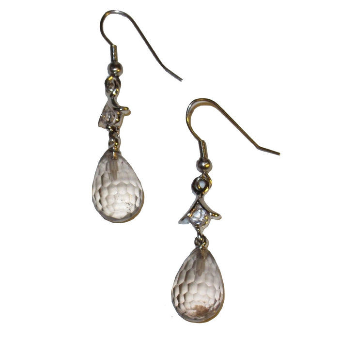 "Smoky Quartz Earrings 1.8"" Fancy Multi-Faceted Drops Sparkling Brown Gemstones Silver 02"