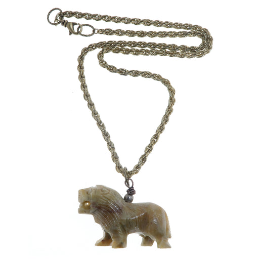 Soapstone Necklace Yellow Lion Mighty Animal Stone Gold Rope Chain