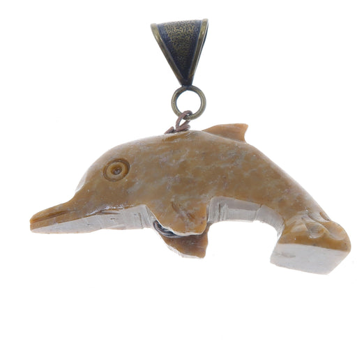 "Soapstone Pendant 2.3"" Specialty One-of-Kind Brown Dolphin Animal Stone Antiqued Brass S02"