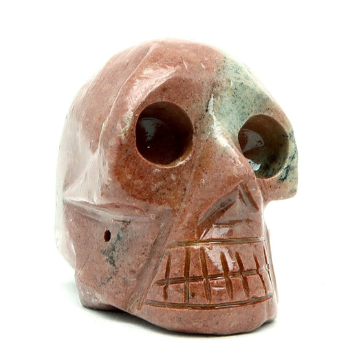 "Soapstone Skull 2.1"" Collectible One-of-Kind Pink Gray Stone Carving Rock Earthy C01"