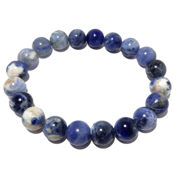 Sodalite Bracelet 9mm Blue White Round Stretch Authentic Stone Casual Holiday Vibe B01