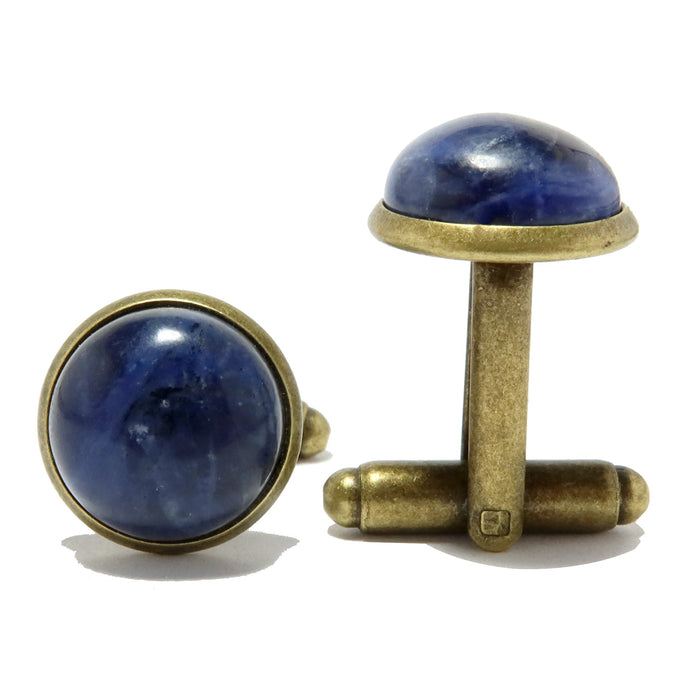 Sodalite Cufflinks Antique Bronze 12mm Blue White Round Gemstone