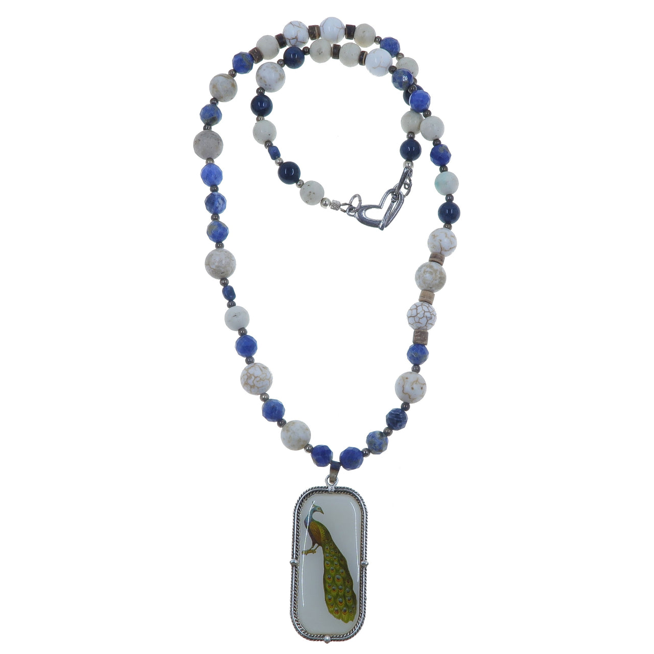 "Sodalite Necklace 22"" Specialty One-of-kind Blue Gemstone White Magnesite Bird Peacock S01"