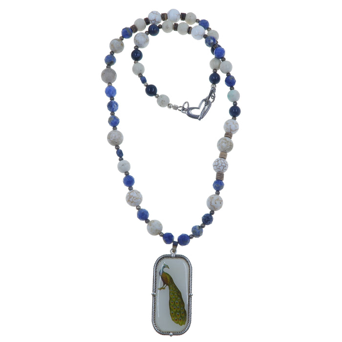 Sodalite Necklace One-of-kind Blue Gemstone White Magnesite Bird Peacock