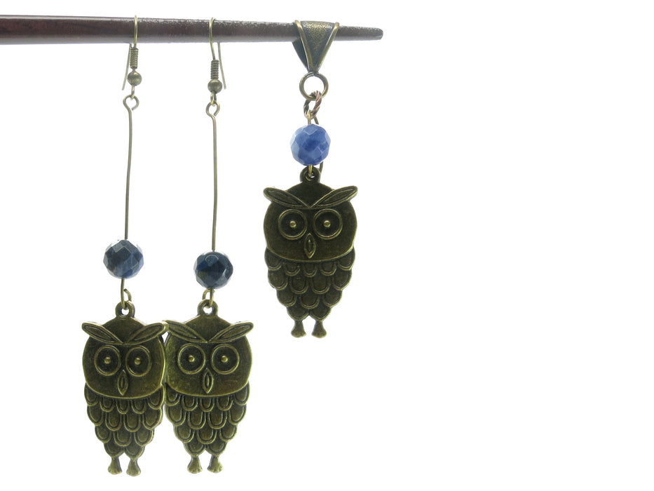 Sodalite Set Specialty One-of-Kind Earrings & Pendant Blue Faceted Stone Animal Bird Owl S01