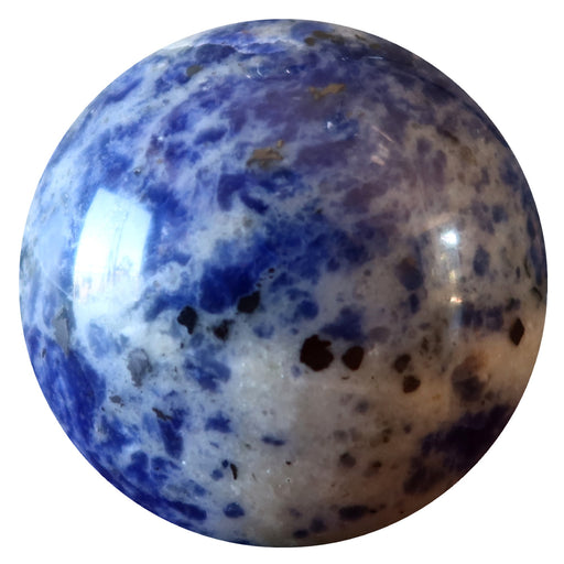 spotted blue and white sodalite sphere