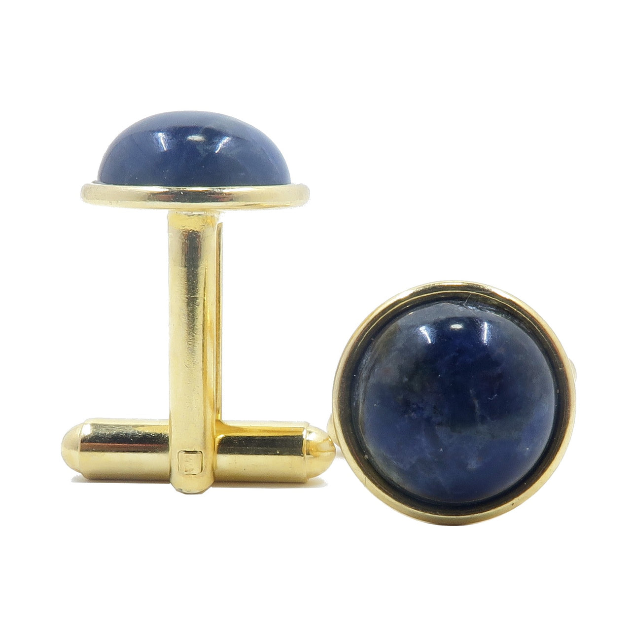 Sodalite Cufflinks 12mm Boutique Blue White Gemstone Circle Metal Logical Pair B01 (Gold)