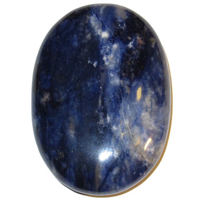 blue and white sodalite oval polished stone slab