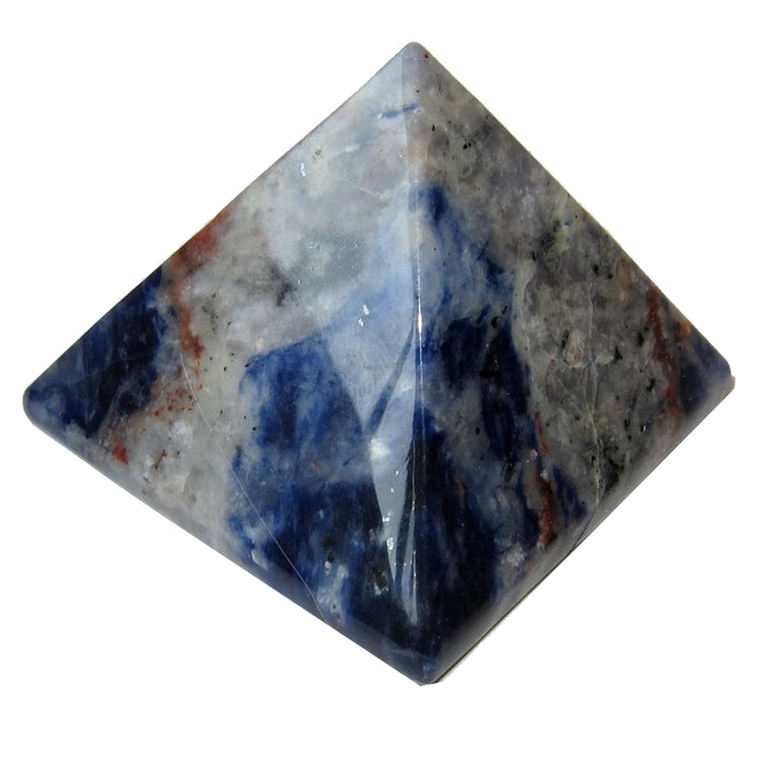 "Sodalite Pyramid Collectible Blue Crystal Calming Zen Energy Healing Reiki Stone C50 (2.7"": 1.9 x 1.9 x 1.6- Water & Fire)"