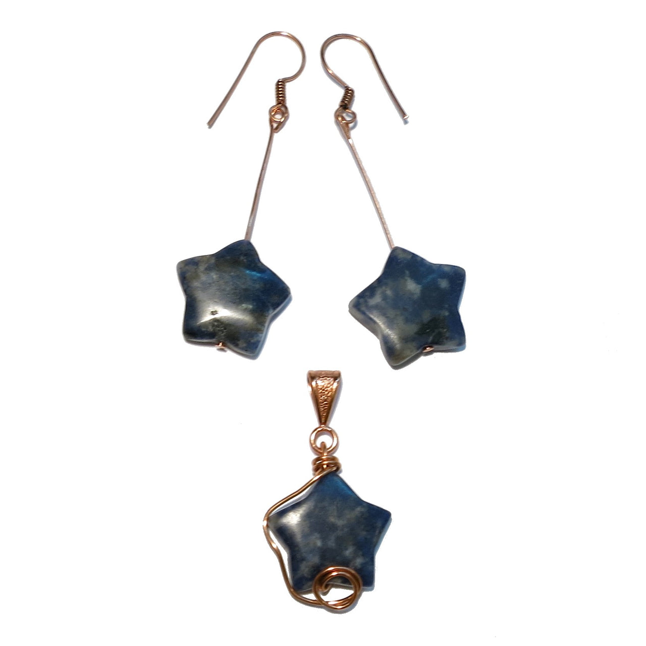 Sodalite Set Earrings & Pendant Blue Star Copper Wire Wrapped One-of-Kind Stones 03z