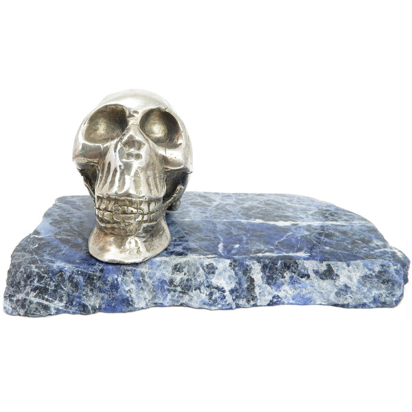 "Sodalite Slab 5"" Specialty One-of-Kind Silver Metal Skull Blue Stone Plate Home Decor C01"