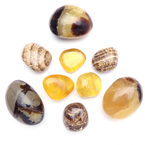Solar Plexus Chakra 03z Aragonite, Calcite, Septarian Yellow Tumbled Crystal Stones (Set of 9)