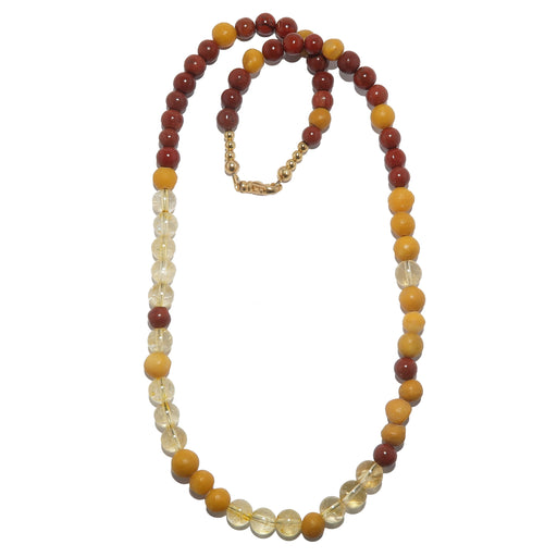 red jasper, yellow jasper and citrine beaded necklace