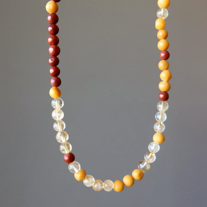 red jasper, yellow jasper and citrine beaded necklace in 18 and 20 inches