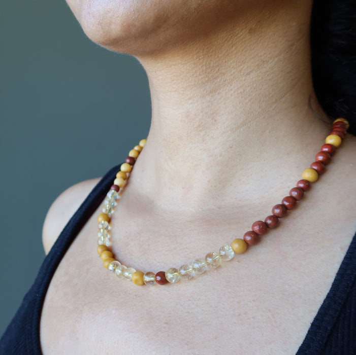 sheila of satin crystals wearing a red jasper, yellow jasper and citrine beaded necklace