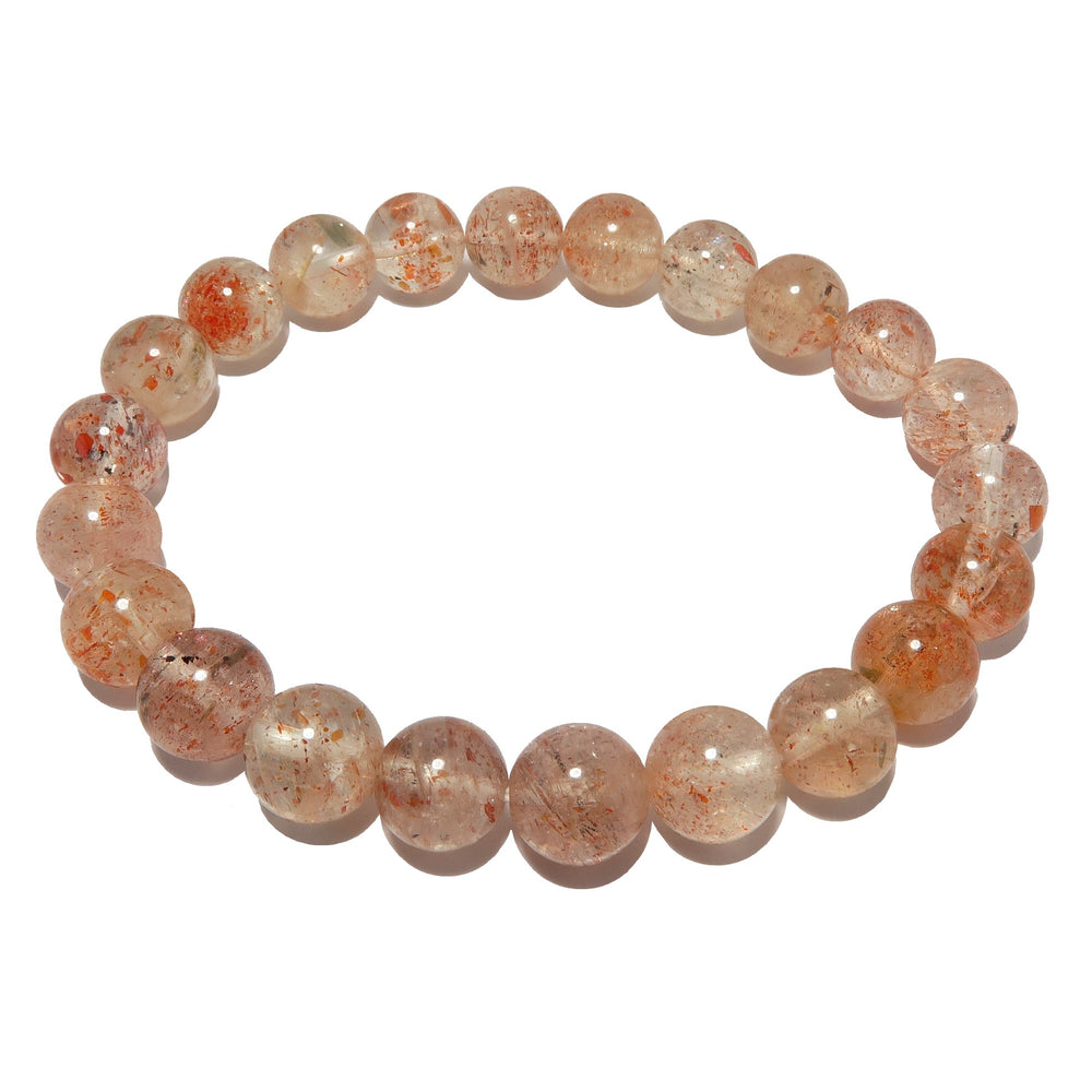 Sunstone Bracelet 7mm Shimmering Red Round Gemstone Stretch Happiness Crystals