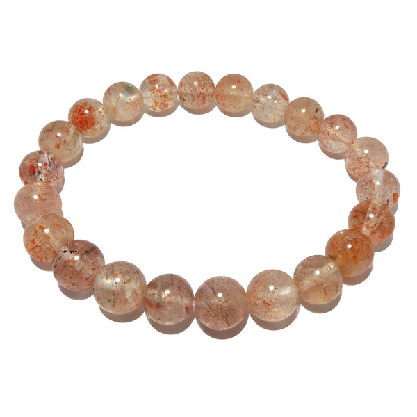 Sunstone Bracelet 7mm Boutique Shimmering Red Round Gemstone Stretch Happiness B01