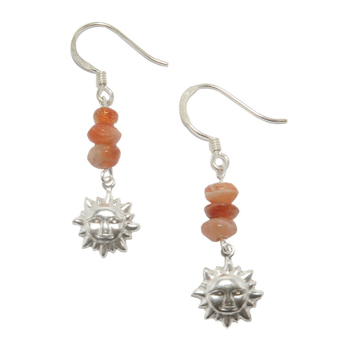 sunstone sterling silver sun earrings