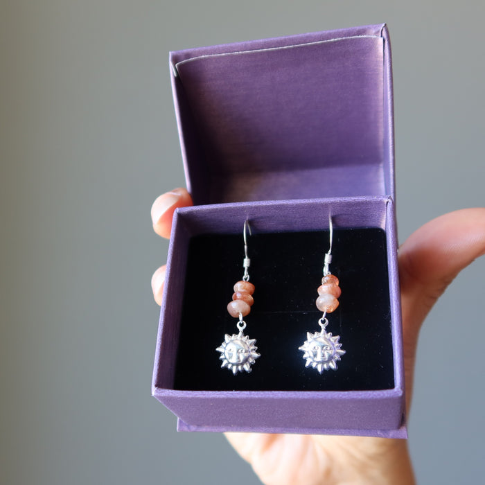 sunstone sterling silver sun earrings in purple satin crystals gift box