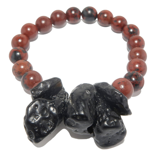 black tektite and red and black mahogany obsidian beaded stretch bracelet