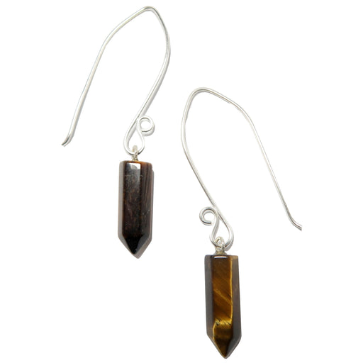tigers eye point fine silver earrings