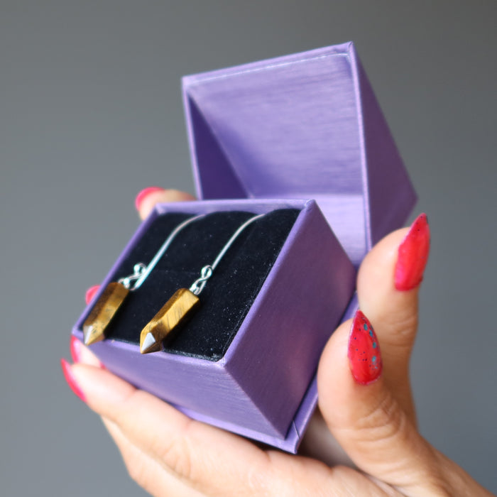 satin crystals gift box with tigers eye point fine silver earrings