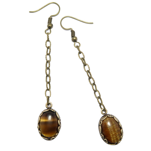 Tigers Eye Earrings Golden Brown Oval Gemstones Antique Chains