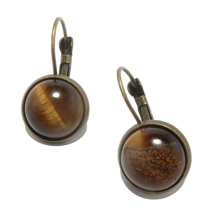 Tigers Eye Leverback Earring Golden Child of Light Natural Antique Gems