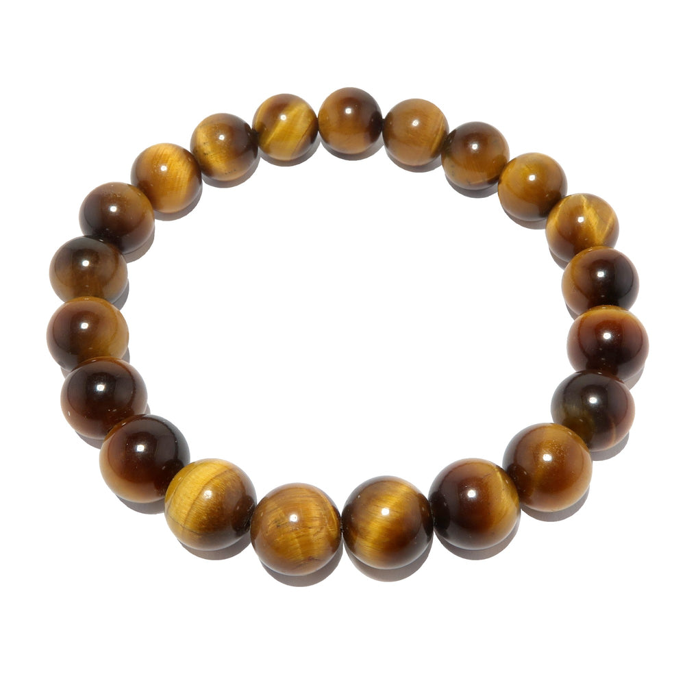 Tigers Eye Golden Brown Bracelet 9mm Smooth Round Stone Stretch