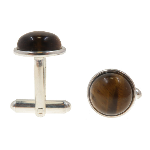 Tigers Eye Cufflinks Silver 12mm Golden Brown Gemstone Round