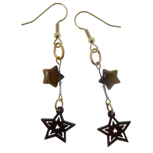 Tigers Eye Golden Earrings Brown Genuine Gemstone Star Wood Cutout Dangle