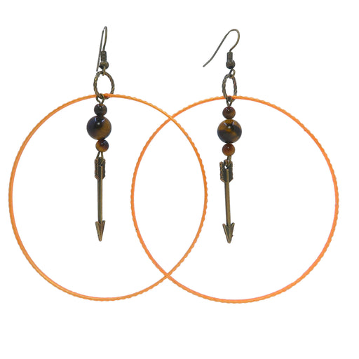 "Tigers Eye Golden Earrings 3.5"" Big Bold Orange Hoop Brown Stone Archery Arrow B02"